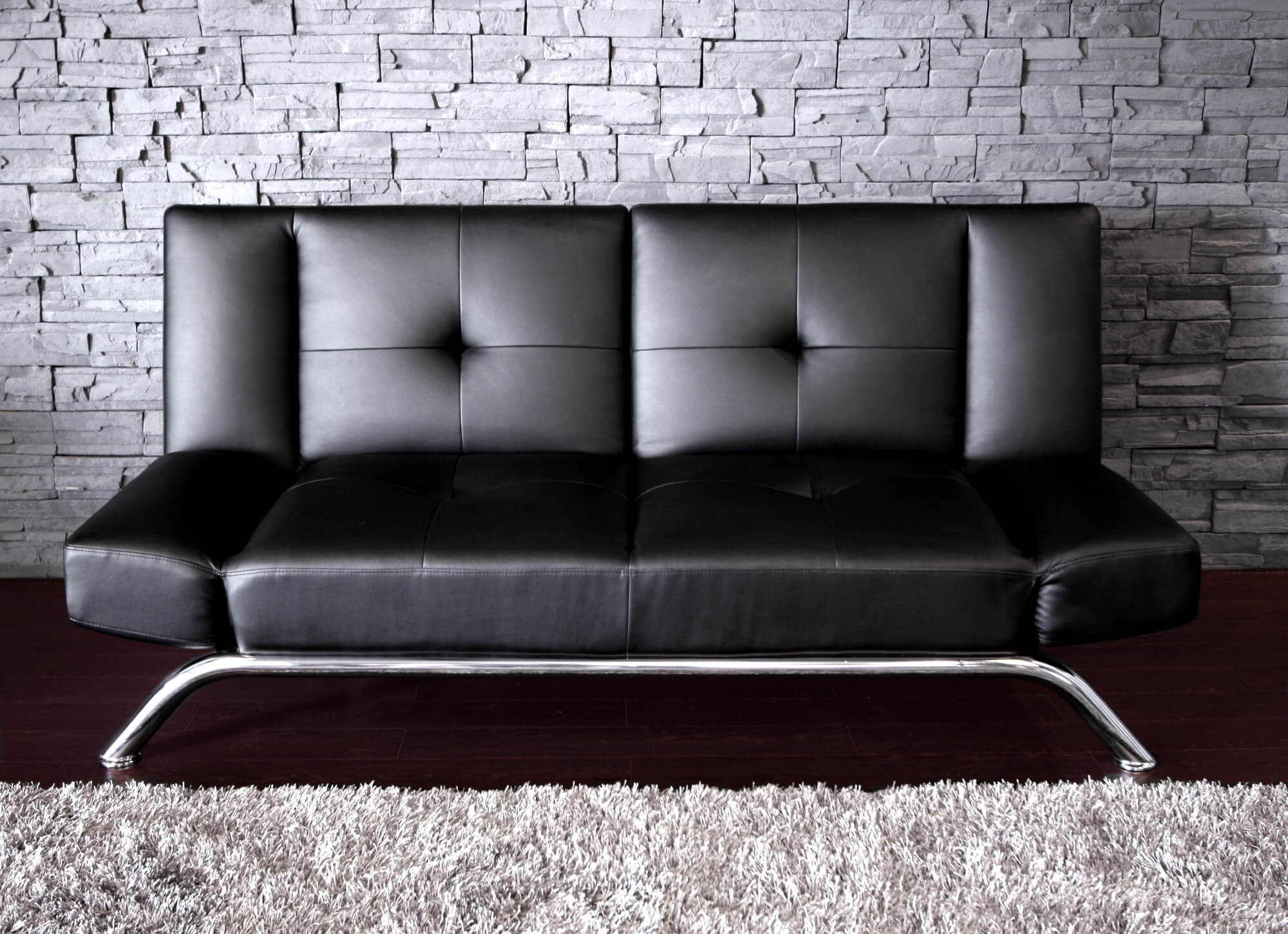 Metal leather contemporary futon
