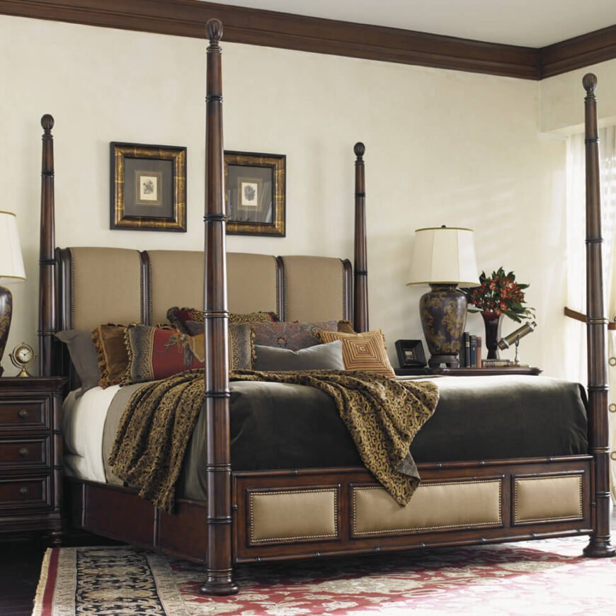 A poster, or more commonly four-poster, bed is built with four vertical columns, one in each corner, sometimes supporting an upper panel. Traditionally these beds were highly ornate and made of carved oak, but now come in a variety of materials and configurations.