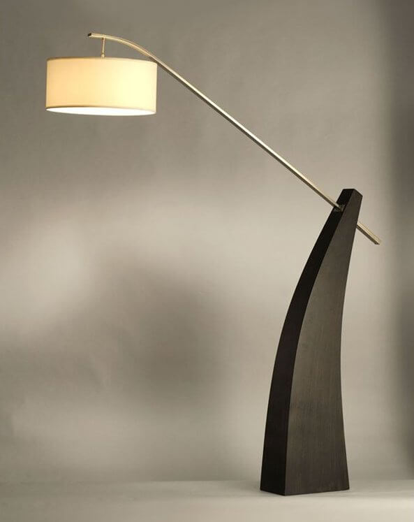 The second arc lamp featured is a striking, modern minimalist design, fitting a brushed nickel arm reaching out of a solid pecan wood base.