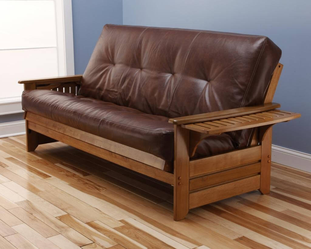 The most common futon frame is one in which the futon mattress is folded in half the long way. These are perfect for couch use and everyday conversion to a bed. Bifold futon frames are available in full, queen, and smaller chair sizes.