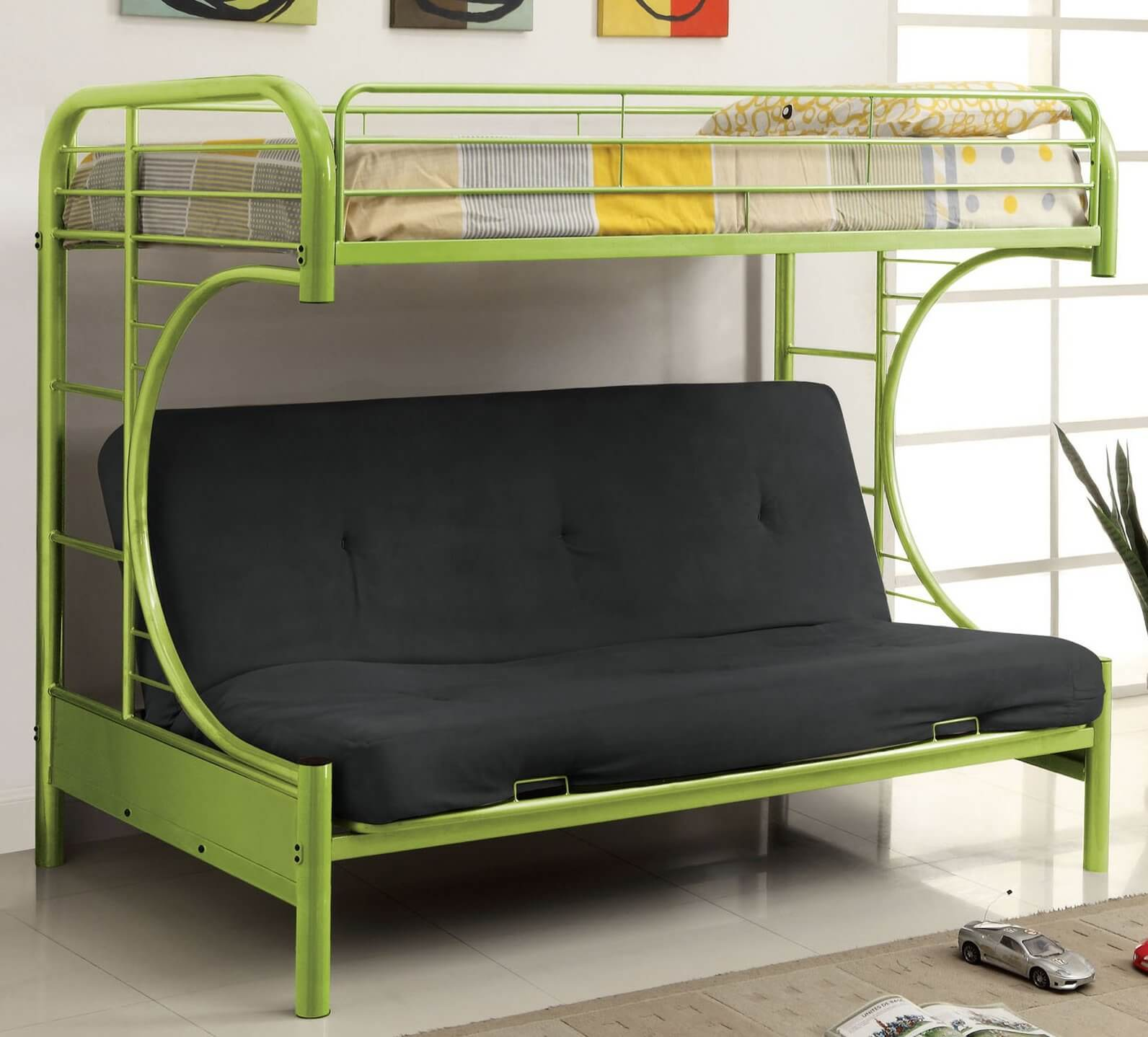 Possibly the most innovative, and definitely the most elaborate futon design, these are a perfect centerpiece for any child's bedroom or dorm room. Combining the traditional futon setup with a full bunk bed frame, they allow for seating and two full beds in a compact space.