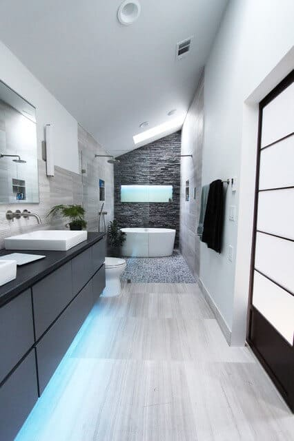 Long view of the contemporary bathroom renovation.