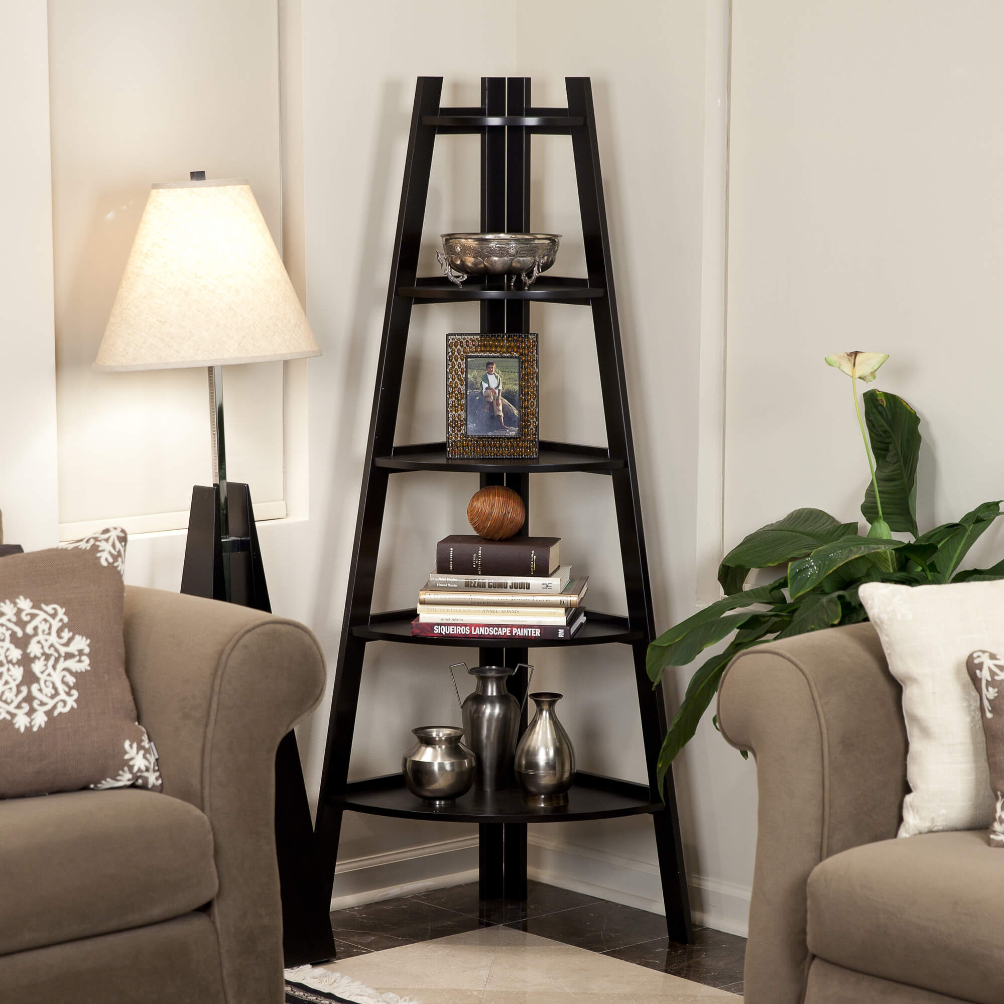 The corner design bookcase is meant, of course, to stand in corners. with two full sides facing outward, the options for shelf placement are expanded. These are especially perfect for conserving space, or displaying art or delicate pieces in a place where they will not be disturbed.