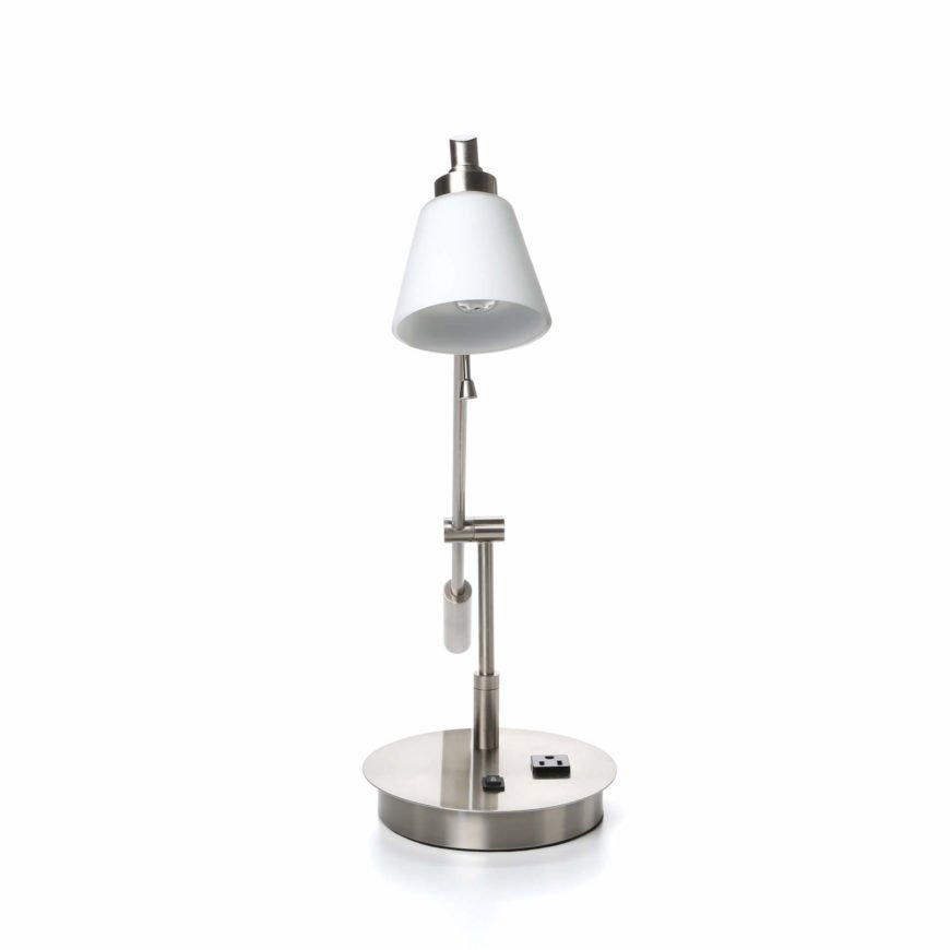 Our second desk lamp has a standard bulb and shade, with a metal pivoting frame.