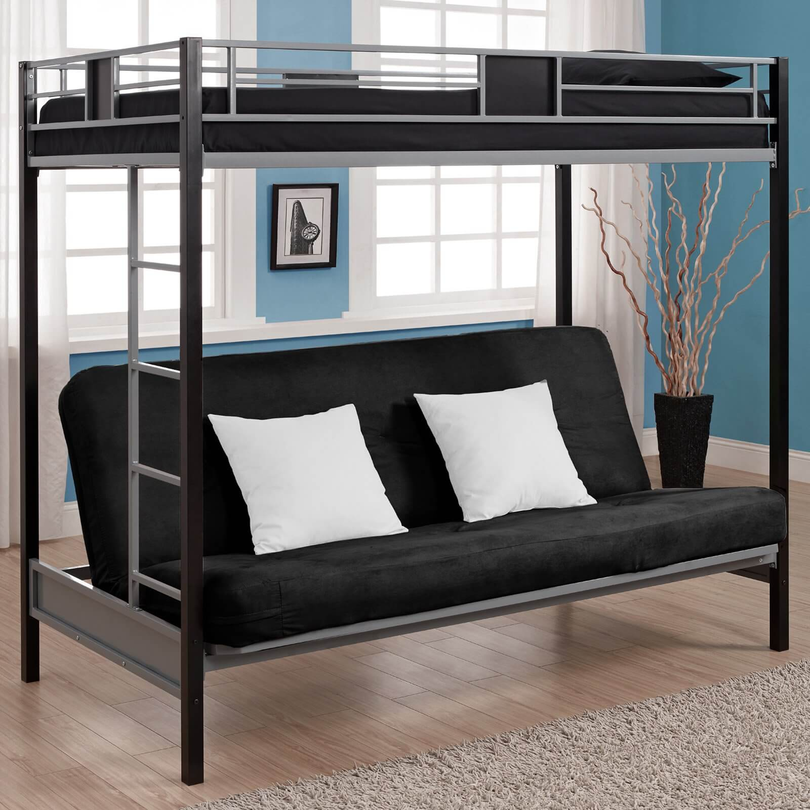 These bunk beds combine a standard upper level bed with a lower level futon, for added versatility. Not only can they sleep two people comfortably, but the futon acts as a comfortable sofa during waking hours. These are great for bedrooms with televisions or for simply hanging out.