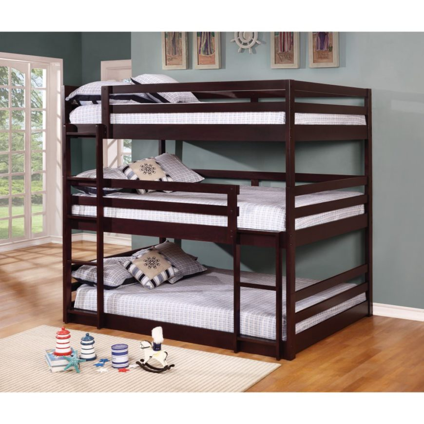 Triple decker bunk bed.