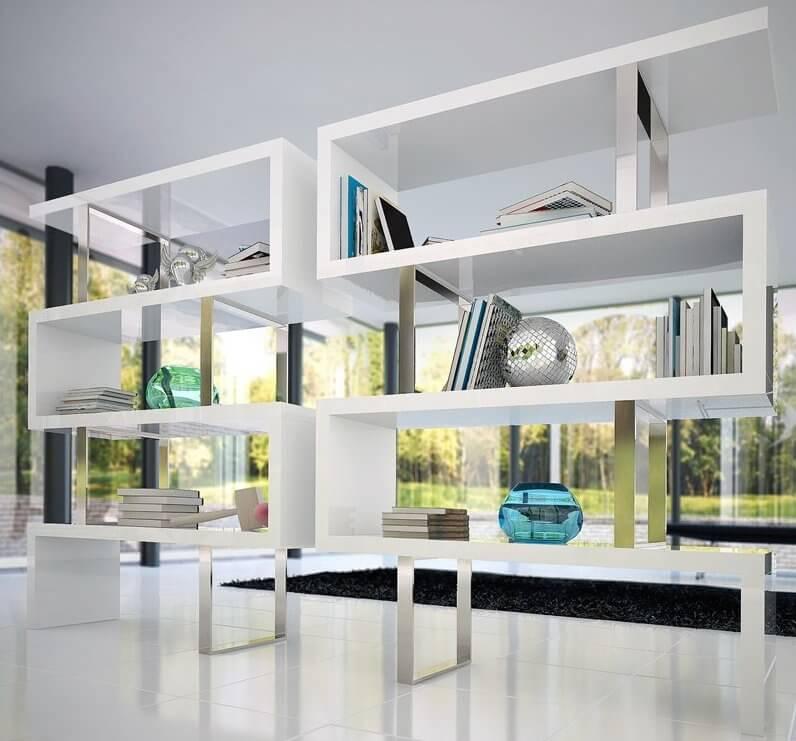 Modern white bookshelf