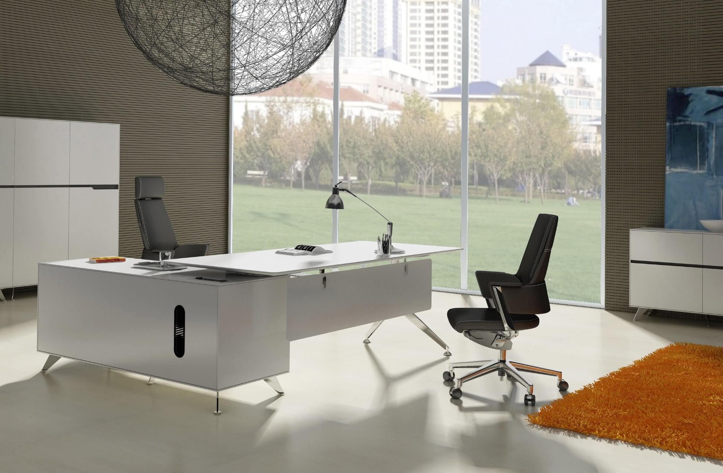Modern L-shaped white desk