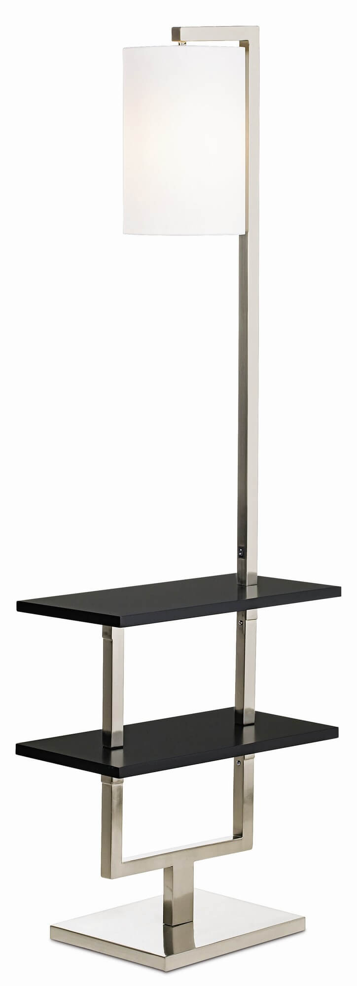 Our second table design floor lamp features a combination brushed nickel and steel frame, with two-tiered table in black.