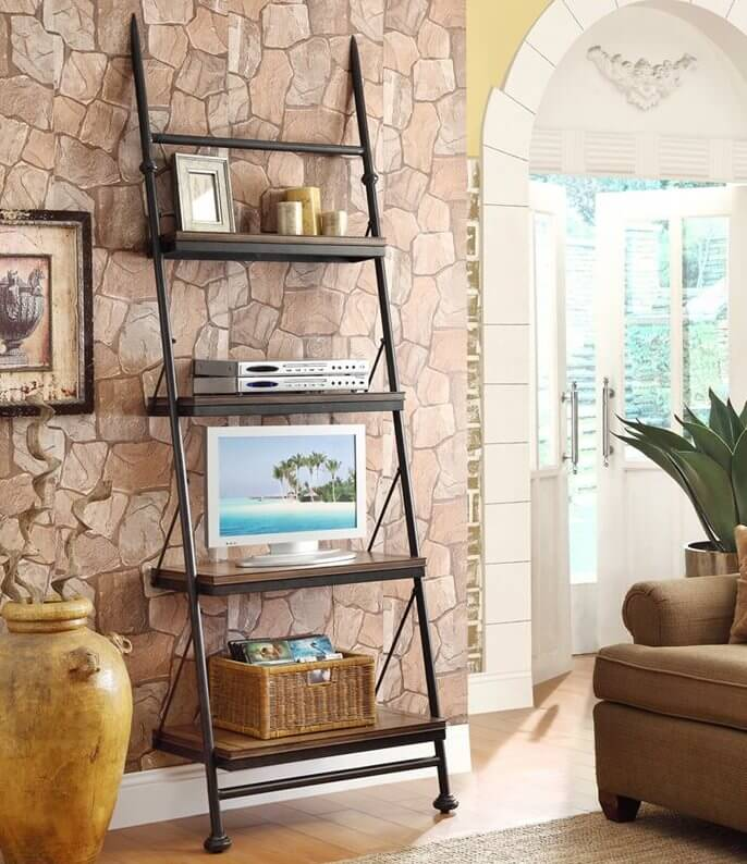 The leaning bookcase has a specialized design, dependent on balancing against a wall. The overall frame has a tilted look, while shelves stay horizontal when the frame is placed against a wall at the proper angle.
