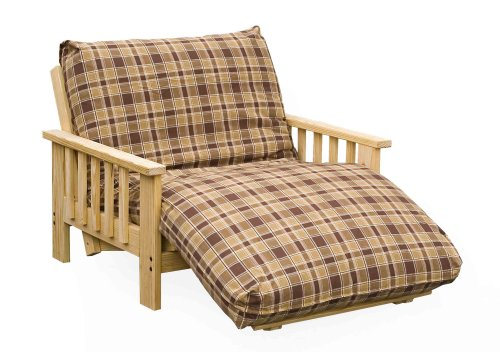 Loveseat futon frames, like the equivalent sofa, are designed for small spaces. These use a 2-piece futon mattress to fit a twin or full size bed into the smallest possible space. Perfect for efficient space usage in guest rooms, home offices, any limited size room, loveseat futon frames are available in twin and full sizes.