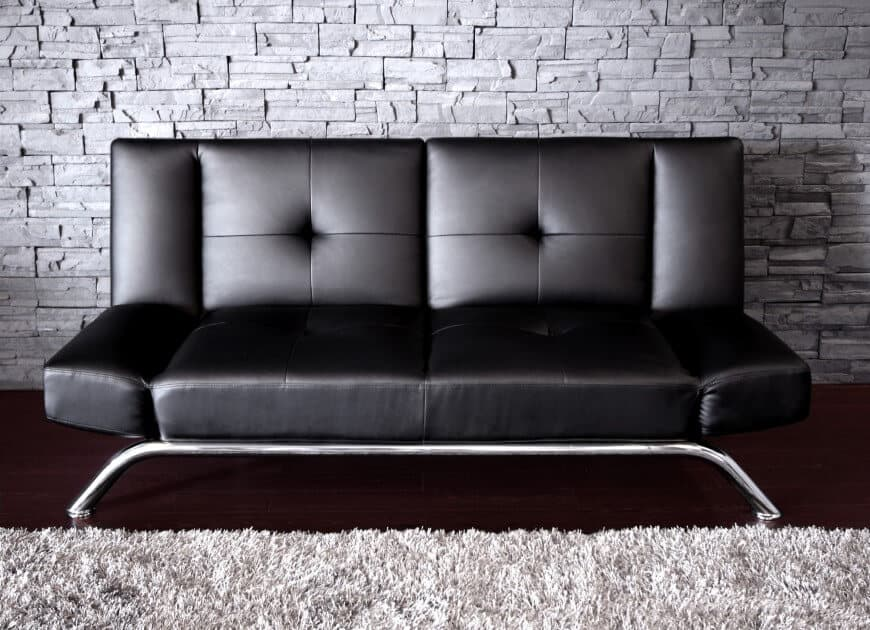Small black futon with chrome legs.