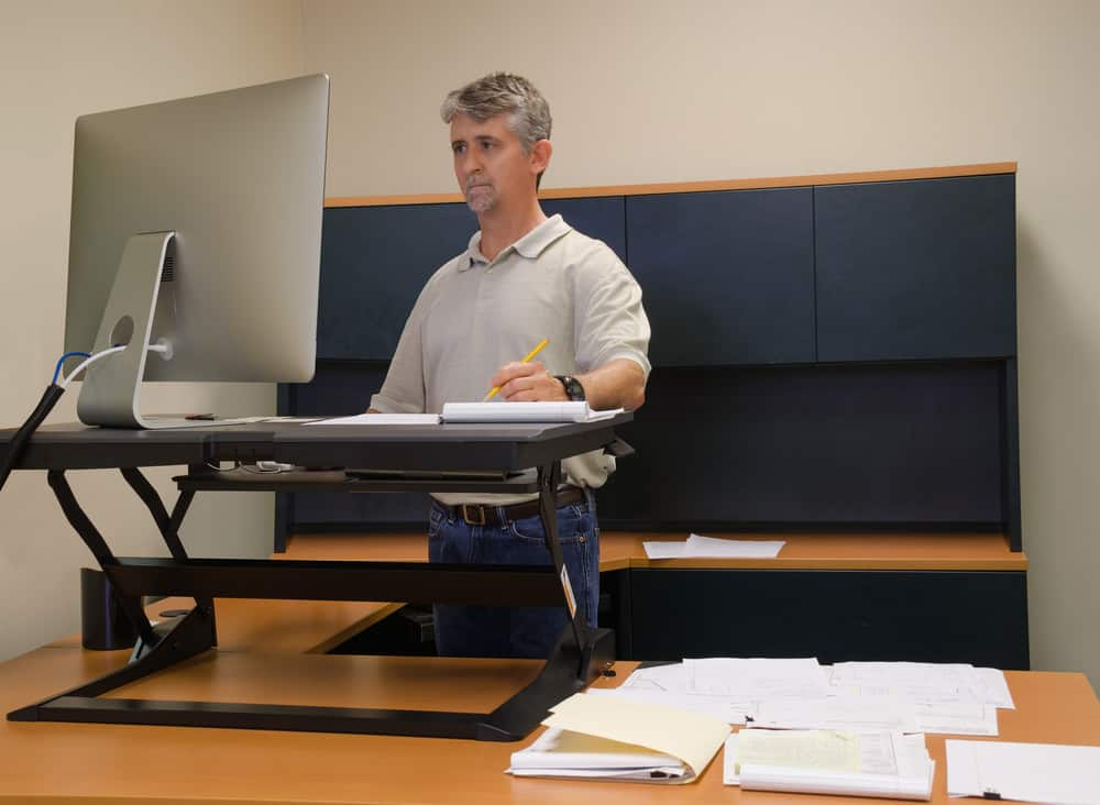 Stand-up desk accessory that turns regular desk into a stand-up desk.