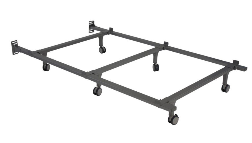 A standard bed frame is usually considered one with a simple metal frame upon which the box will sit.