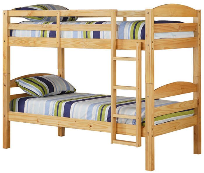 Simple wood bunk bed with attached ladder.