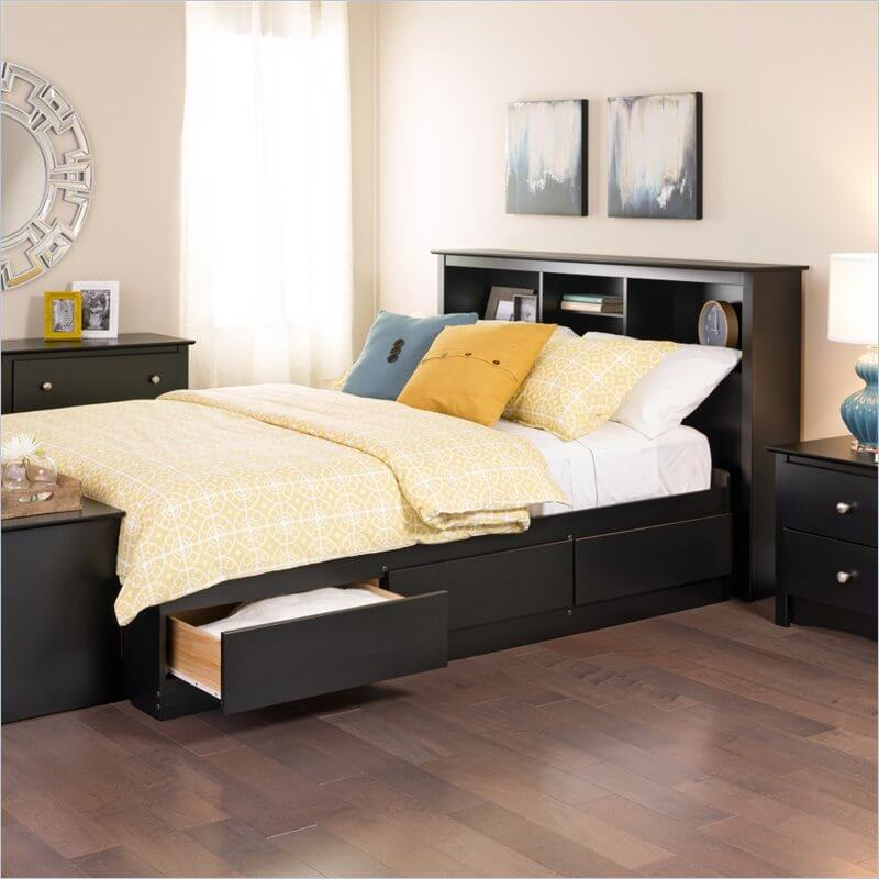 Storage beds hold drawers or otherwise concealed storage beneath or surrounding the mattress itself. Some models even have a hinged frame, where the entire sleeping surface can be lifted to reveal storage.