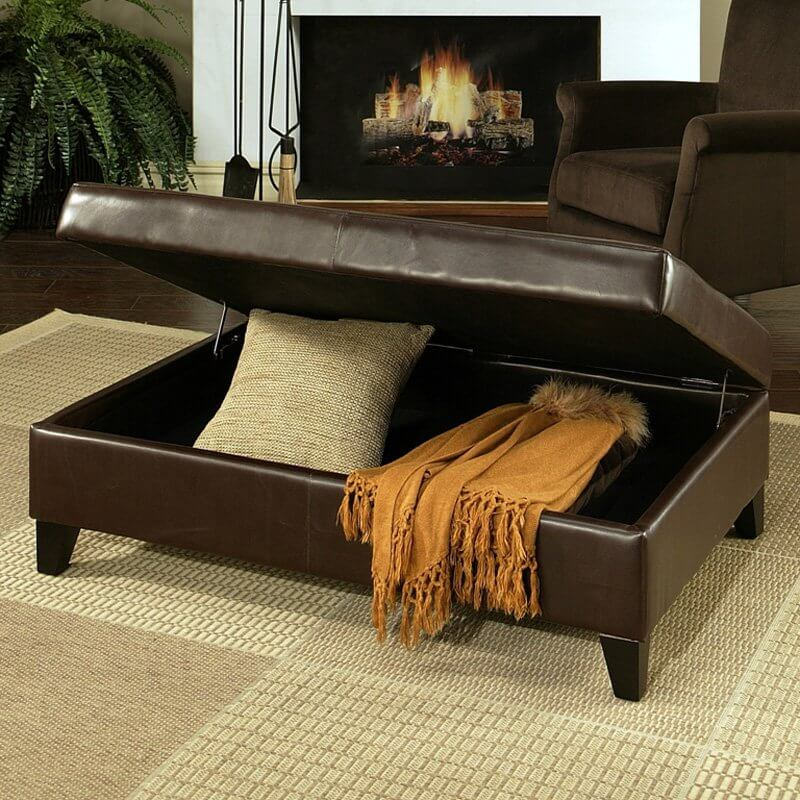 The most common method of ottoman storage involves a lid that is either hinged or lifted off to access the interior.