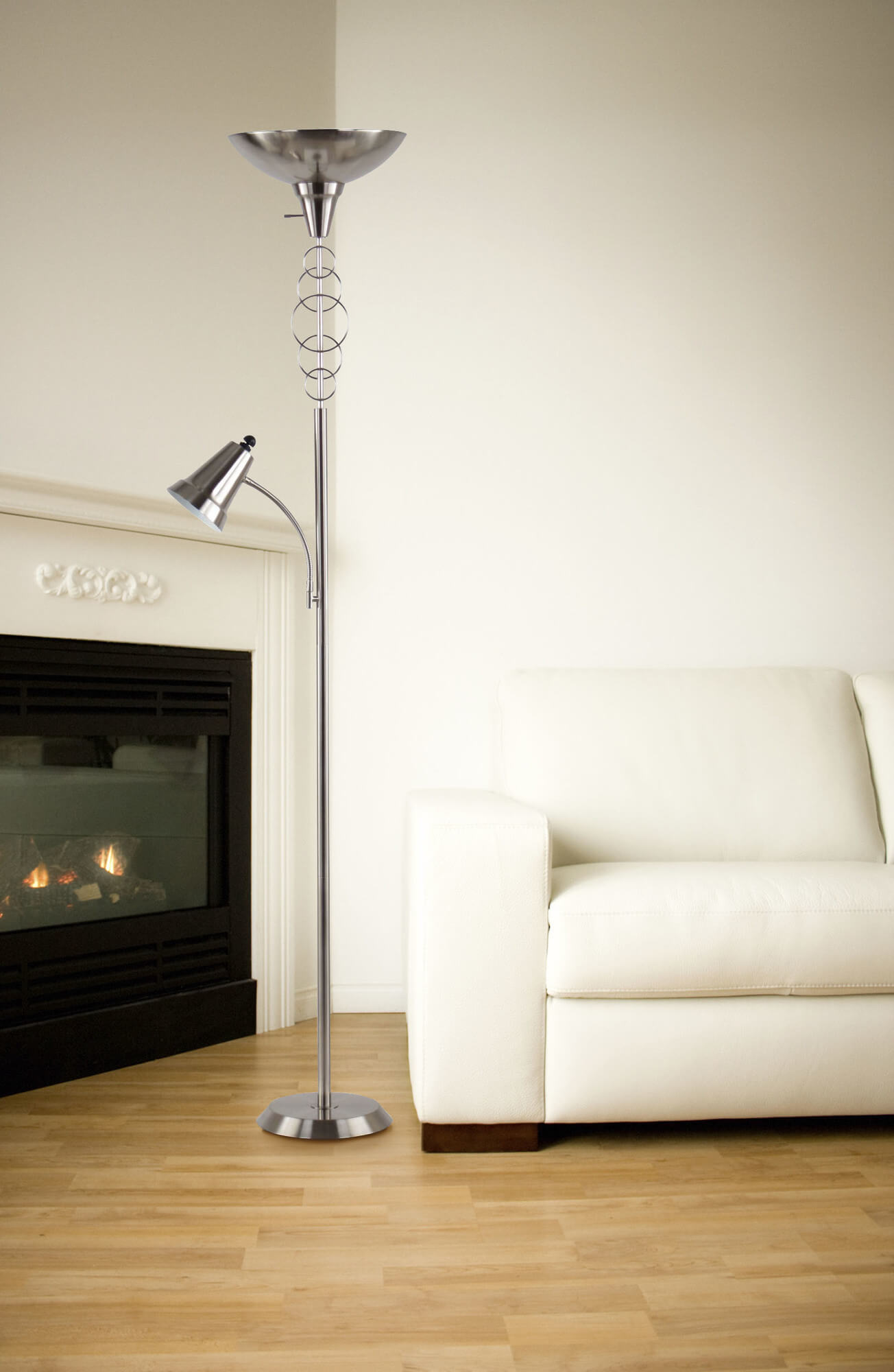 Our first example is a contemporary brushed nickel model, with a secondary downward-facing lamp for reading.