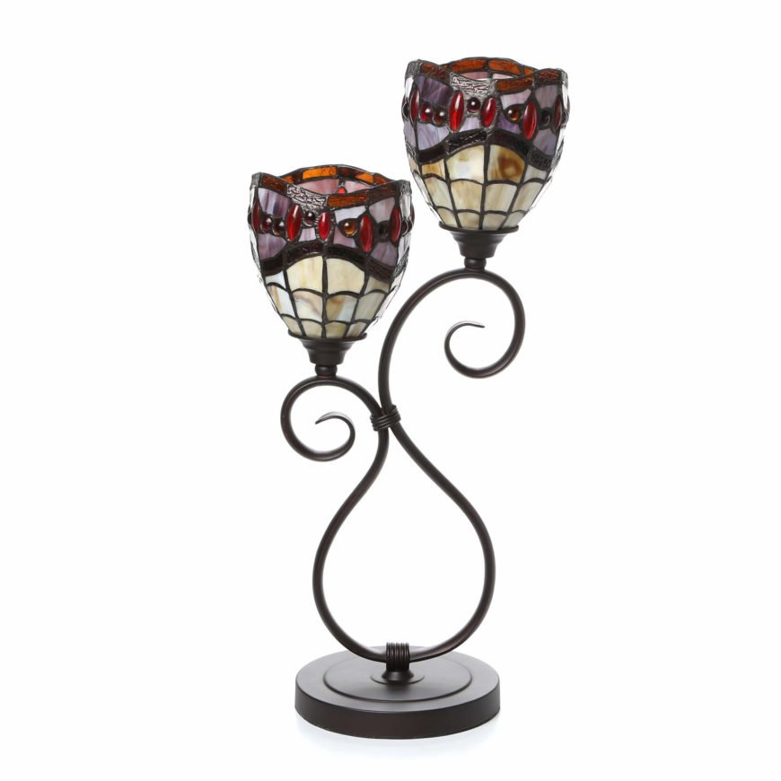 This second torch lamp in a more traditional design features dual stained glass lampshades.