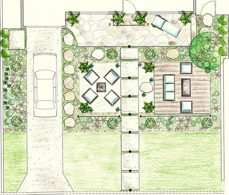 A conceptual sketch of the front garden, showing the two main seating areas, the patio/front porch area and all the greenery.