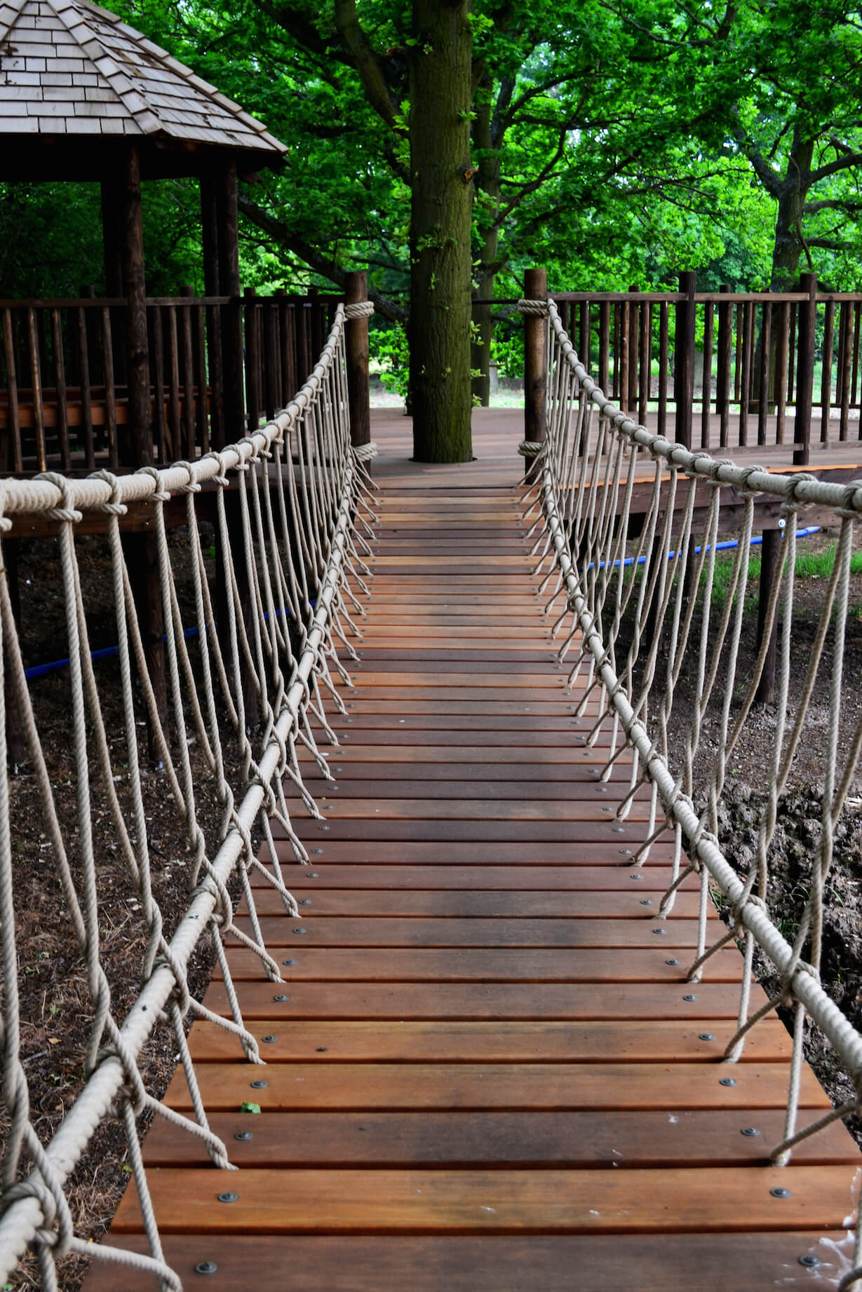The fantastic rope bridge connects the home to this discrete platform, housing a gazebo and leading to the adventure trail.