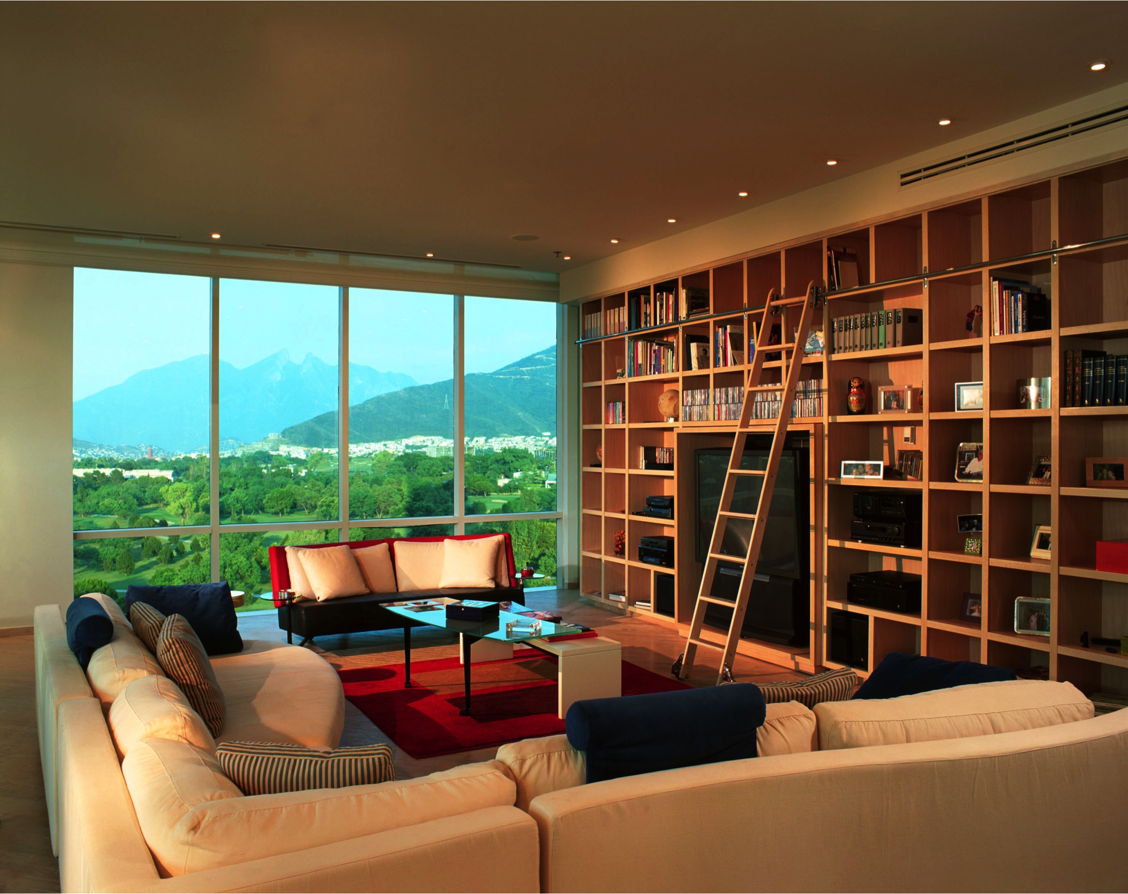 Contemporary living room with a large library wall and rolling bookcase ladder.