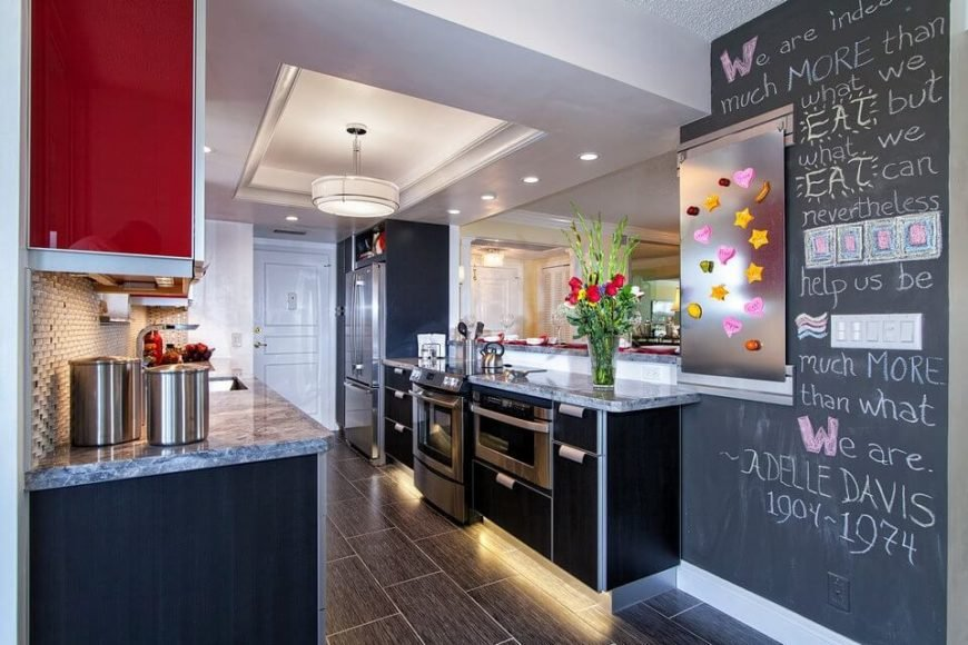 Kitchen renovation with chalkboard wall
