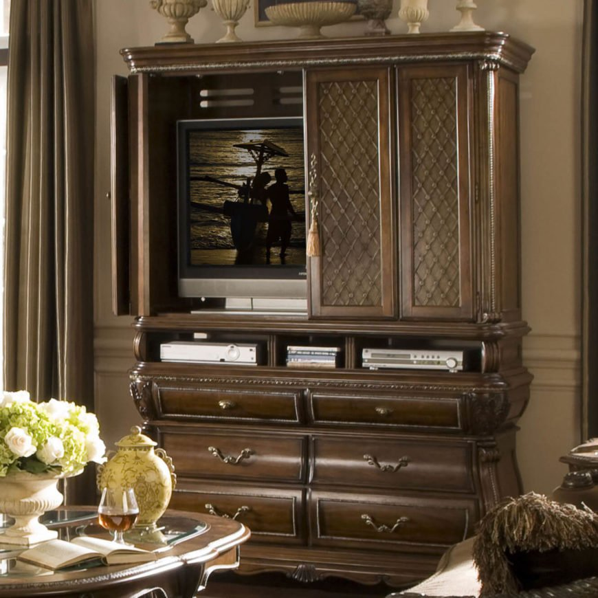 The cabinet TV stand design comes in two major flavors: one more akin to the console models, with closed cabinetry below an open surface upon which the television sits, and one not unlike a standard armoire, with drawers set below a fully enclosed large space where the screen can be hidden away when not in use.