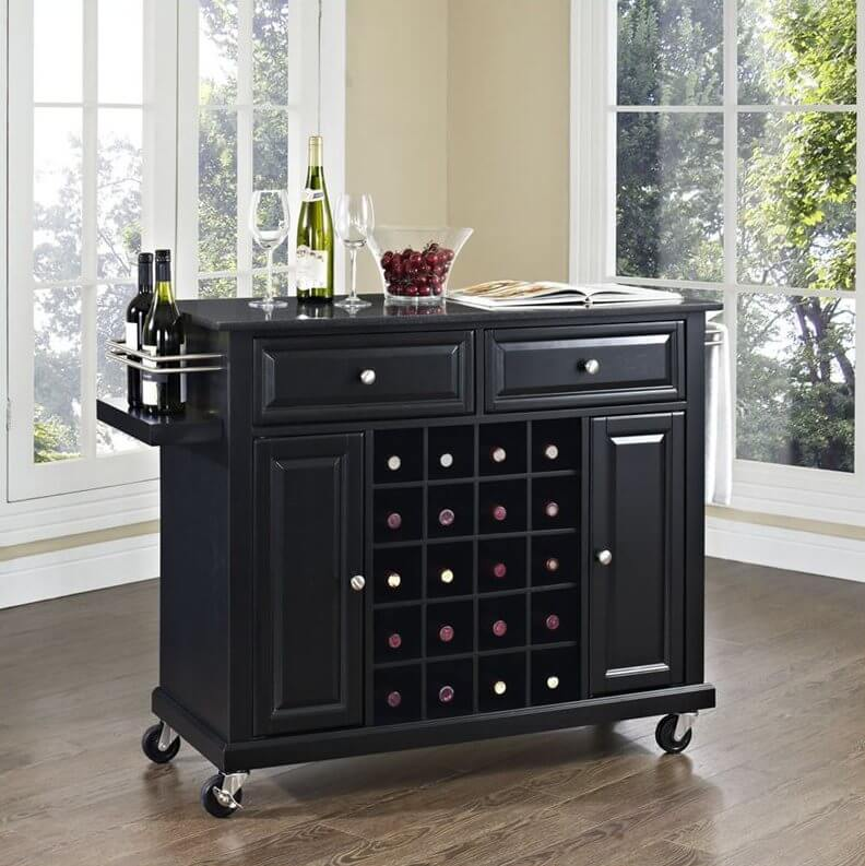 The first example in dark stained wood features a large rack and surface area, with cabinets and drawers for storage.