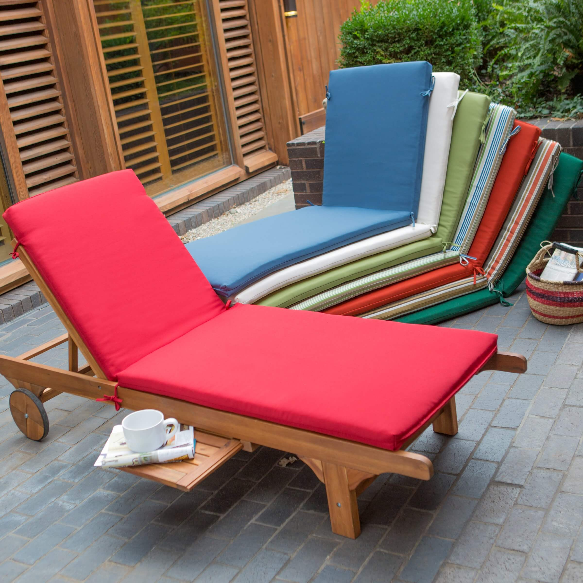 Patio ready chaise lounges tend to be built on a wood or wicker frame, with removable cushioning for storage when the weather doesn't comply. They often have adjustable back heights and may include features like drink treys or cup holders.