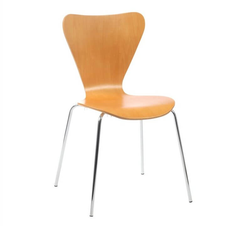 Contemporary design, covering any and all styles currently new and thriving, is a loose term that can point to a wide range of chairs. Our featured example is a minimalist, curved wood design contrasting old fashioned materials with up to date shaping.