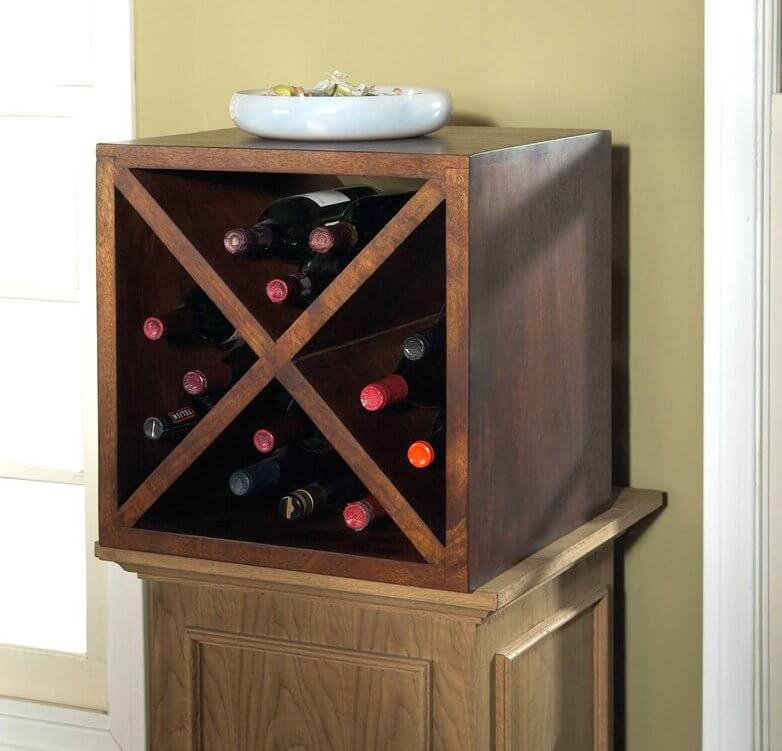 The cube design is exactly as it sounds: a cubic frame with interior racks for holding bottles. These can be easily purchased and set up in multiples, for extensive storage.