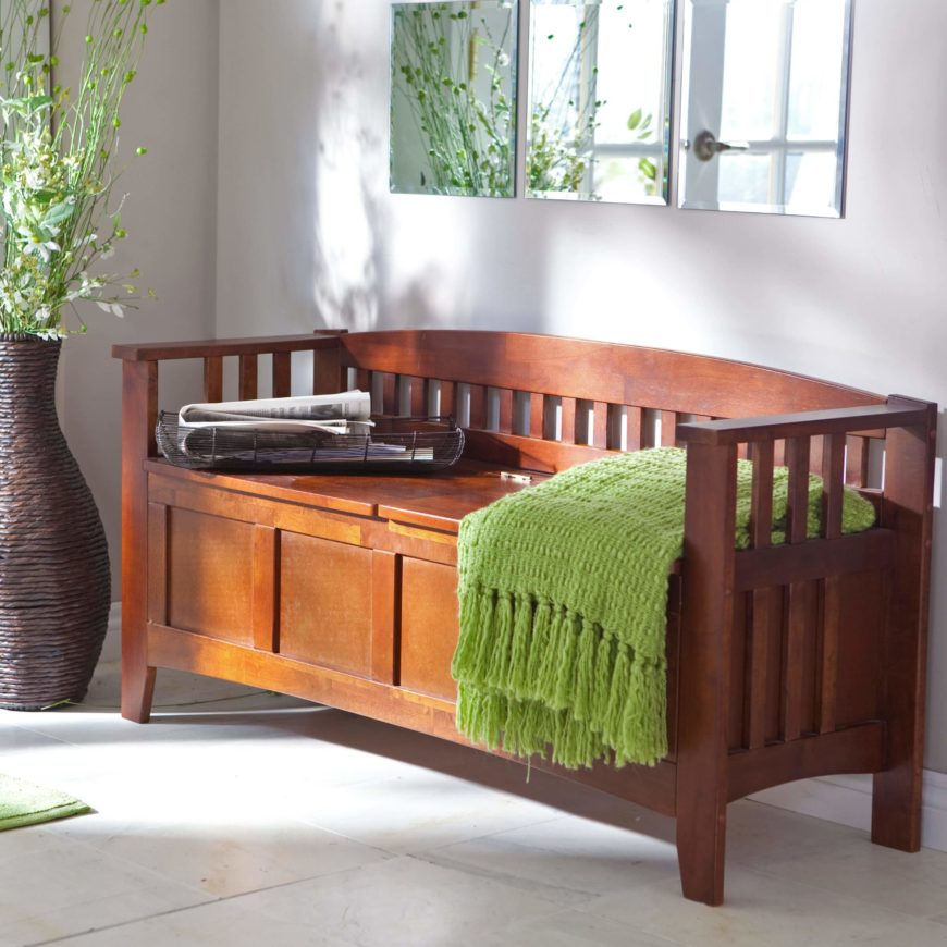 For a typical entryway storage bench, something hardy with a more solid surface is the best option. For this area of the home, look for hardwood benches with sturdy backs, able to withstand the traffic that comes with any entryway.