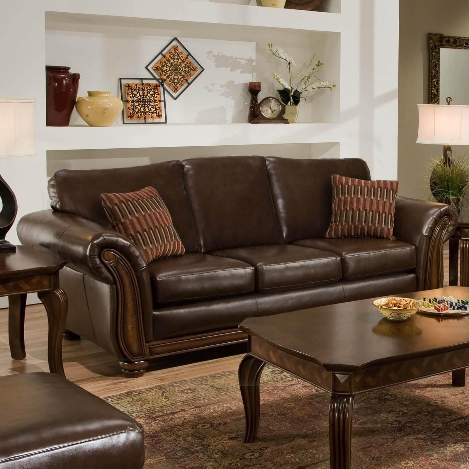 Comfortable brown leather sofa.