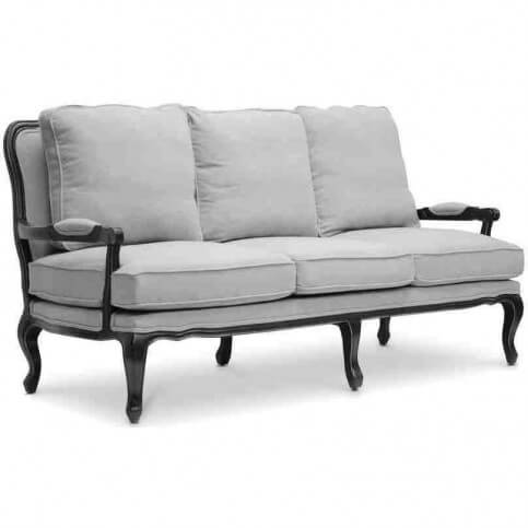 This traditional grey linen sofa has a solid hardwood oak frame with a distressed black finish. The style is based on a traditional French sofa style. This is a smaller piece that can be paired with other styles or can stand on its own.