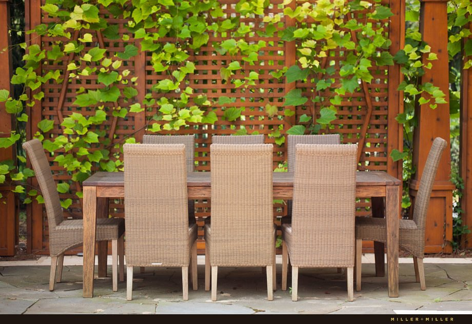 A close up of the dining area in the day light shows the lattice grape vine supports and wooden dining table.