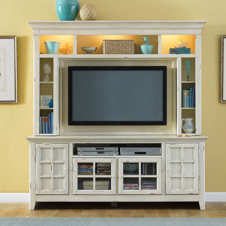 The hutch is a venerable piece of furniture, where cabinetry or shelving are stacked atop a horizontal counter space. The TV stand variation merely makes room for the television and carries flanking cabinetry.