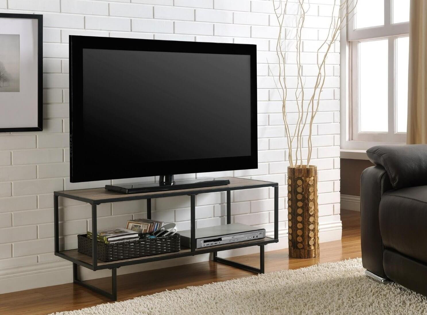 A unique style, industrial is meant to recreate the factory floor visuals of rough, used wood and hard steel. Often appearing in gunmetal and other dark shades, these TV stands will contrast nicely with soft natural toned rooms or blend in perfectly in loft style spaces.