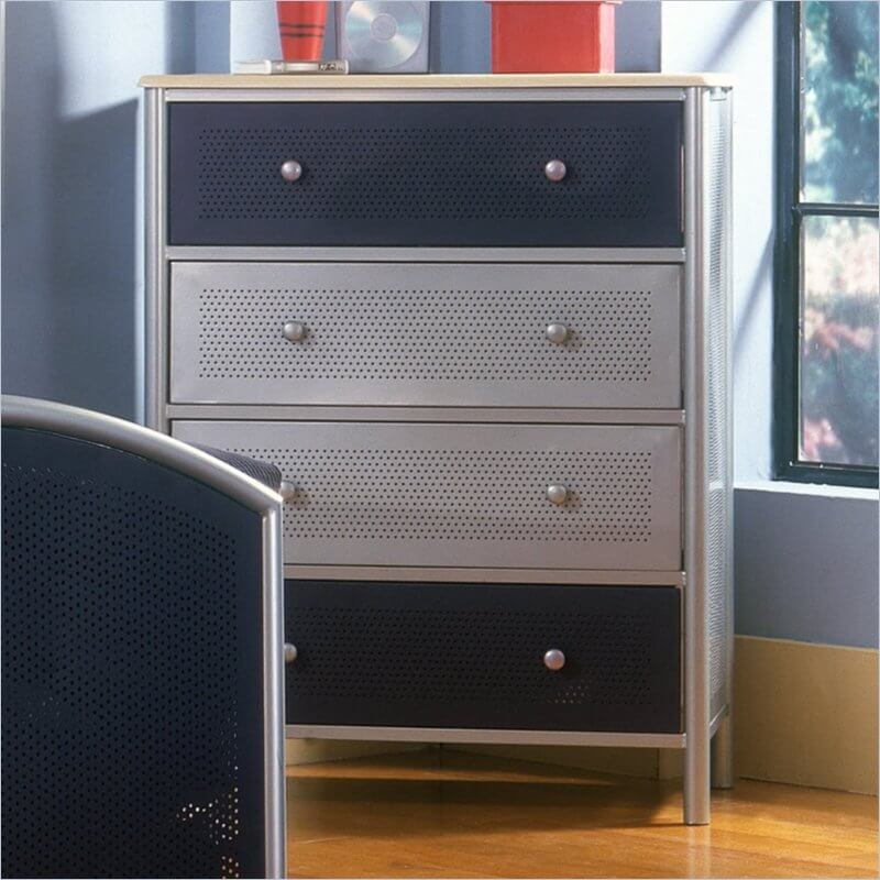 While much less common than wood, metal dressers can be found in a variety of designs. From fully metal models, like our example here, to hybrid dressers employing metal along with wood, the material can be used for innovative purposes, and provide a lighter weight frame.
