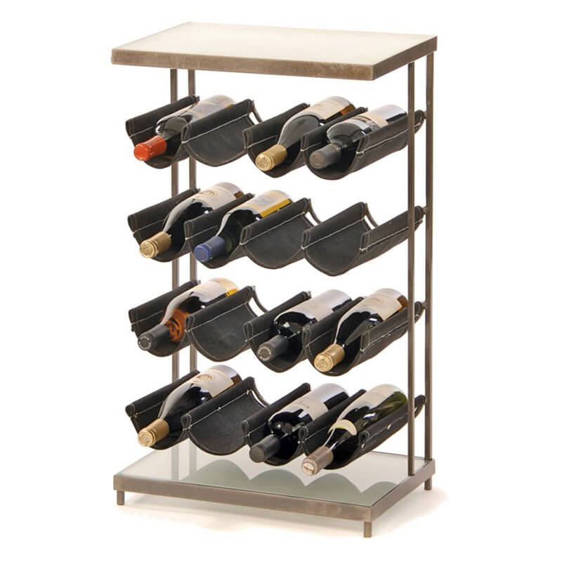 A second example of metal wine rack construction, pictured here, shows the material's ability to mix with other elements. In this case, we have canvas slings holding the bottles themselves.