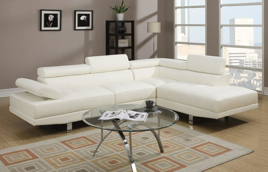 This futuristic two-piece faux leather sectional sofa is made out of soft touch faux leather and features adjustable armrests and back supports for an ultra-comfortable couch-potato experience. This sofa also features an elongated chaise lounge.