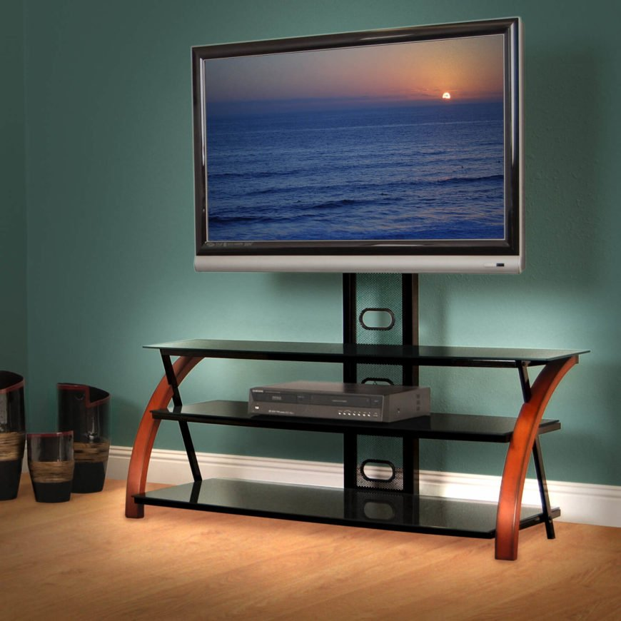 The open shelving design is quickly becoming the most popular, especially for those who are looking for a more less obtrusive setup, conserving space and providing an open visual element. Usually a central frame holds several shelves, and often provides a mounting bracket for the television itself.