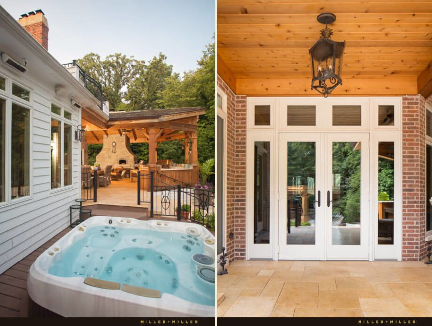 On the left is the hot tub, tucked away to the left of the home and backyard. On the right, a view of the white glass doors that lead back inside the home.