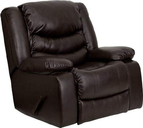The most common recliners you'll encounter involve a large sturdy base and a hand-pulled lever on the side which activates the reclining function. Our example features plush dark leather padding on the back and armrests.
