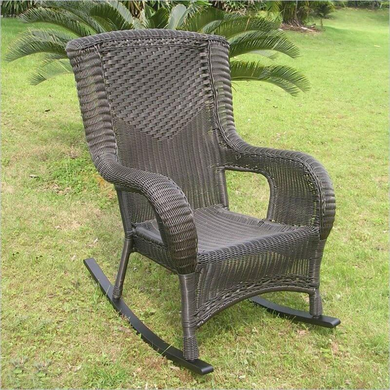 Wicker, also known as rattan, is a woven product made from plant material or resin, used on strong, weather resistant patio furniture most often. Our wicker rocking chair in dark brown features a solid wood base.
