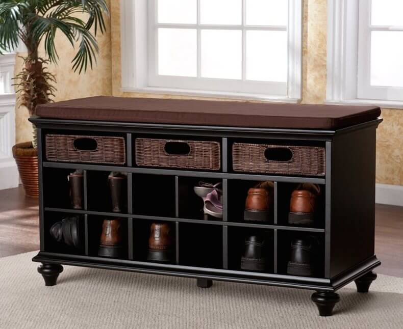 Shoe storage is, as its name implies, for organizing footwear. Individual shoe-size cubbies are mounted along the front surface, making this type of bench perfect for entryways.