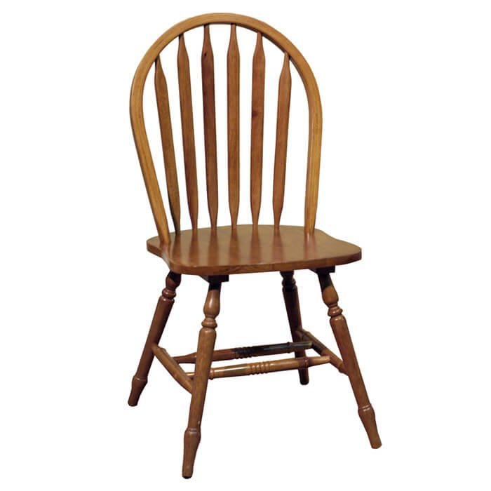 Our first design is the most common chair seen in kitchens and dining rooms throughout the world, the side chair. This is a standard dining chair without arms, and our wood frame example features an arched back and plain wood seat.