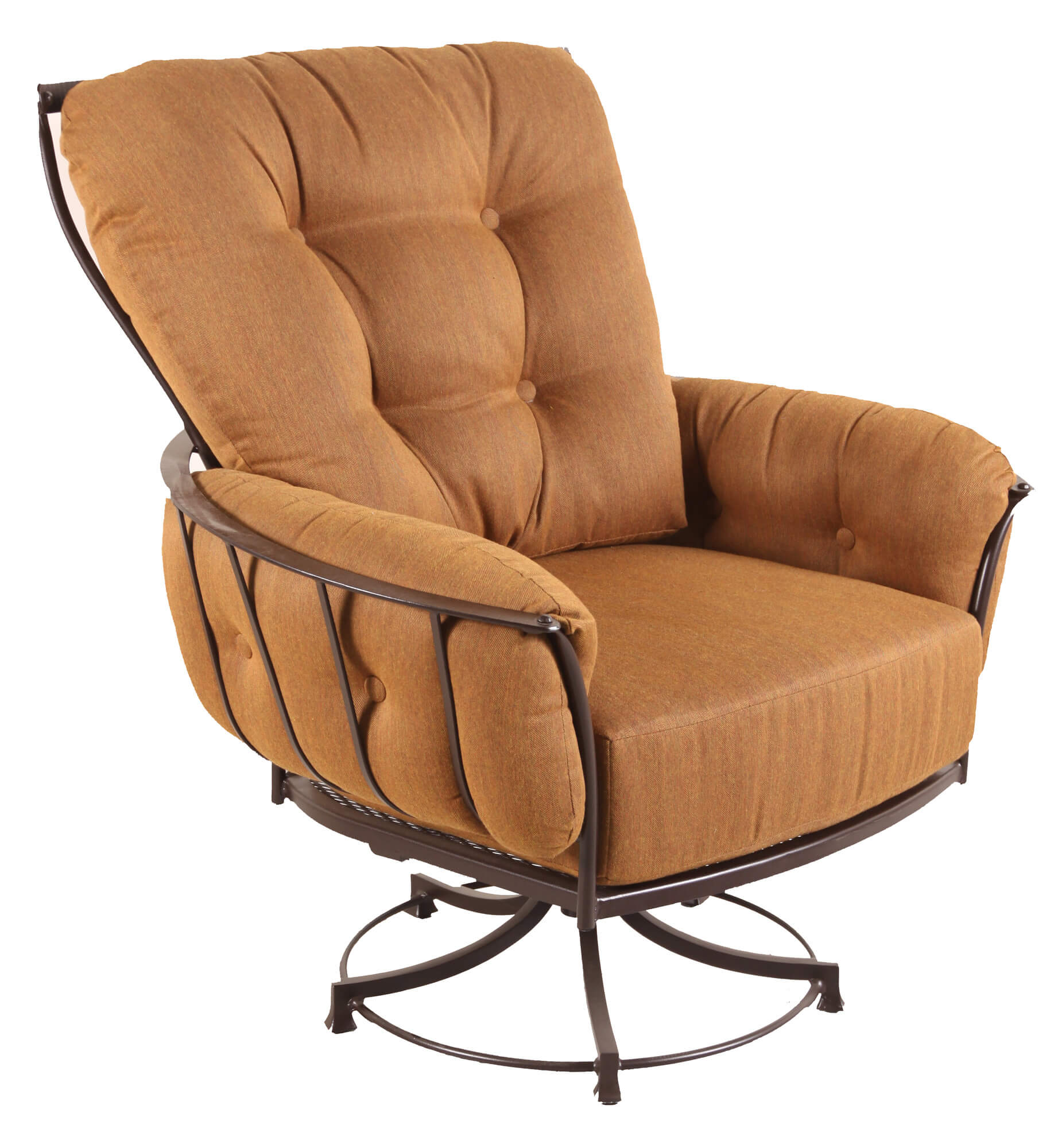 For a more extreme variation on the club chair, we bring you this swivel design, metal frame model with button tufted cushioning.