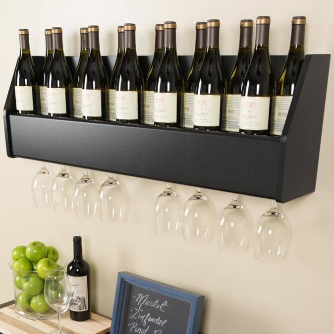 Finally, we have a more elaborate setup, with a full wooden shelf holding upright bottles, with a glassware rack hanging below.