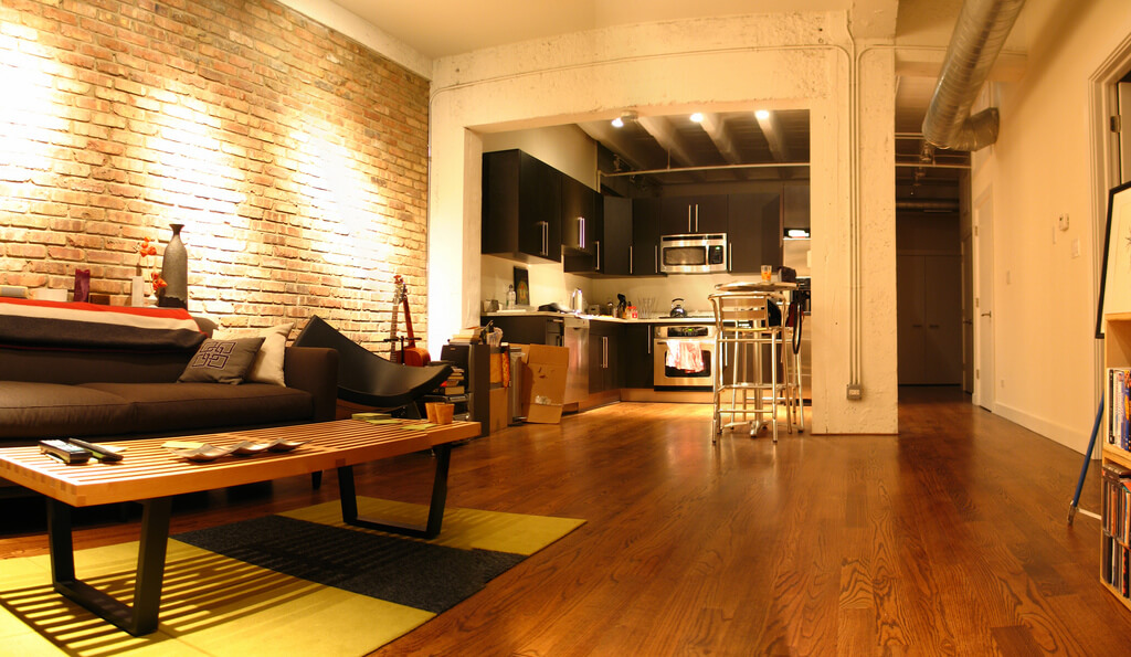 Old brick warehouse converted into chic apartments and condos